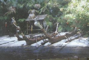 Native canoes on the jungle cruise