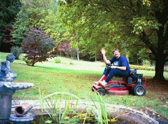 Mr. Toads Wild Ride lives!.. .Oh wait, That's just me on a riding mower at Carlenes moms house