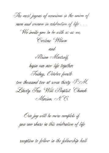 An invitation to our wedding